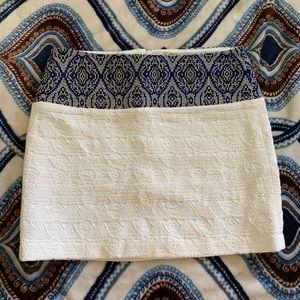 ZARA white & blue patterned mini skirt